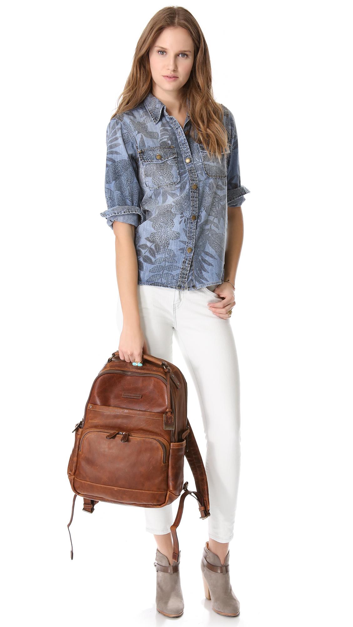 Lyst Frye Logan Backpack In Brown