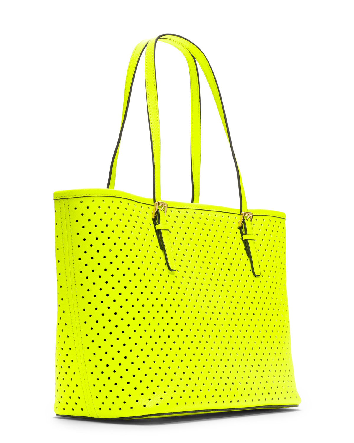 20c933320c9 MICHAEL Michael Kors Small Jet Set Perforated Travel Tote in Yellow ...