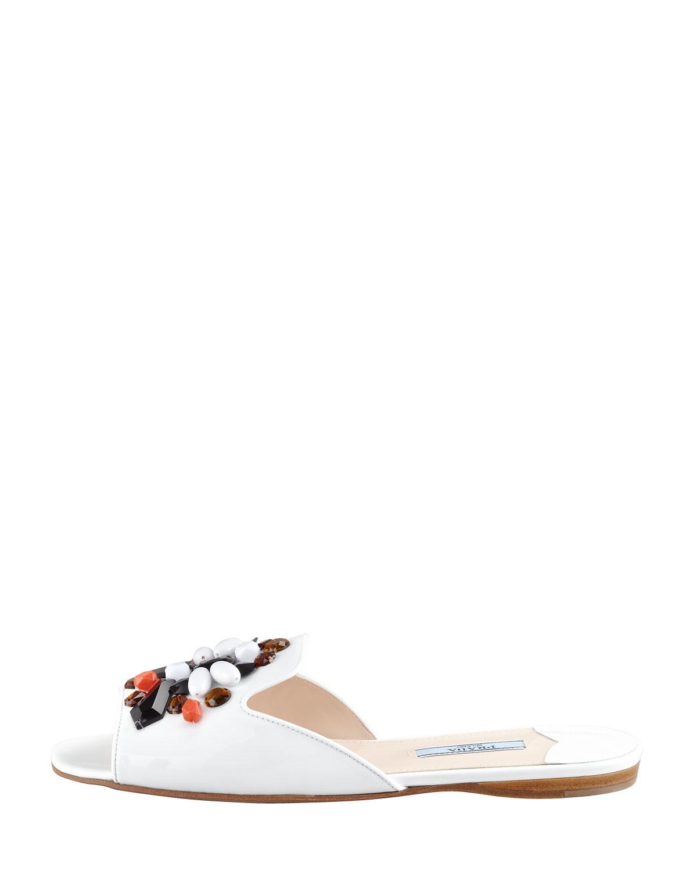 Prada Flat Patent Leather Slide White in White | Lyst