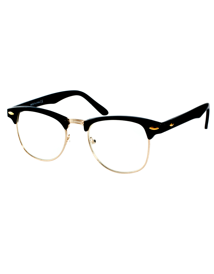 88e6389b80a Lyst - ASOS Clubmaster Glasses with Clear Lens in Black for Men