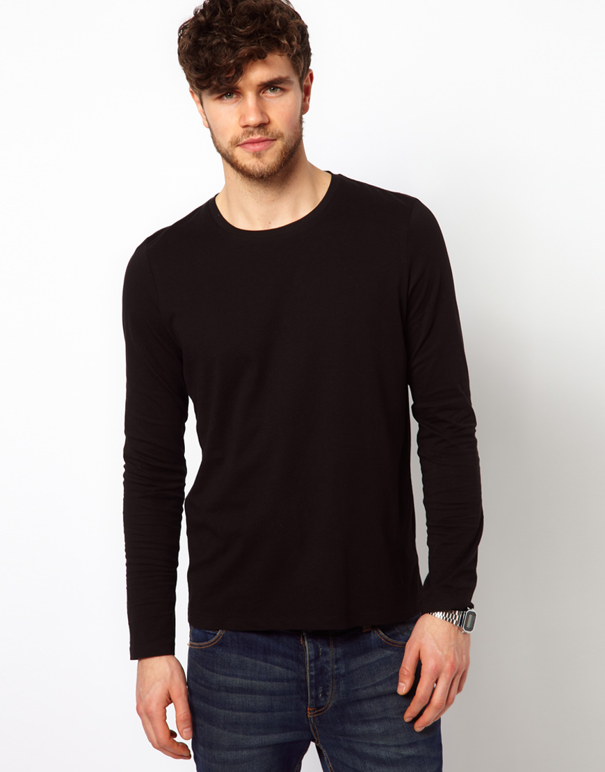 Asos Slim Fit Long Sleeve T-Shirt With Crew Neck in Black for Men ...