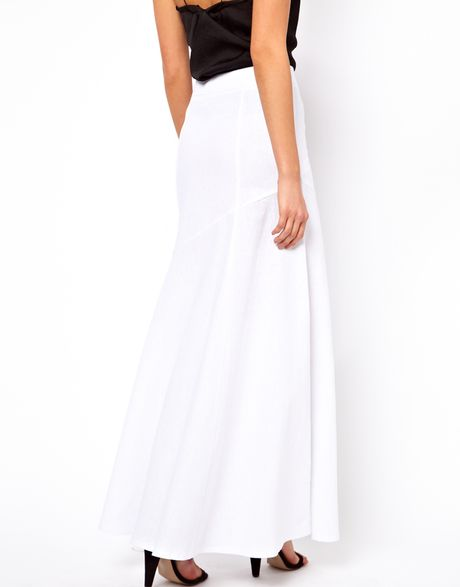 asos collection maxi skirt in linen in white lyst