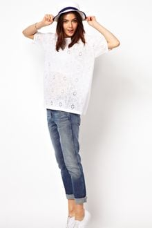 ASOS Collection Premium T-Shirt in Lace with Cut Out Back - Lyst