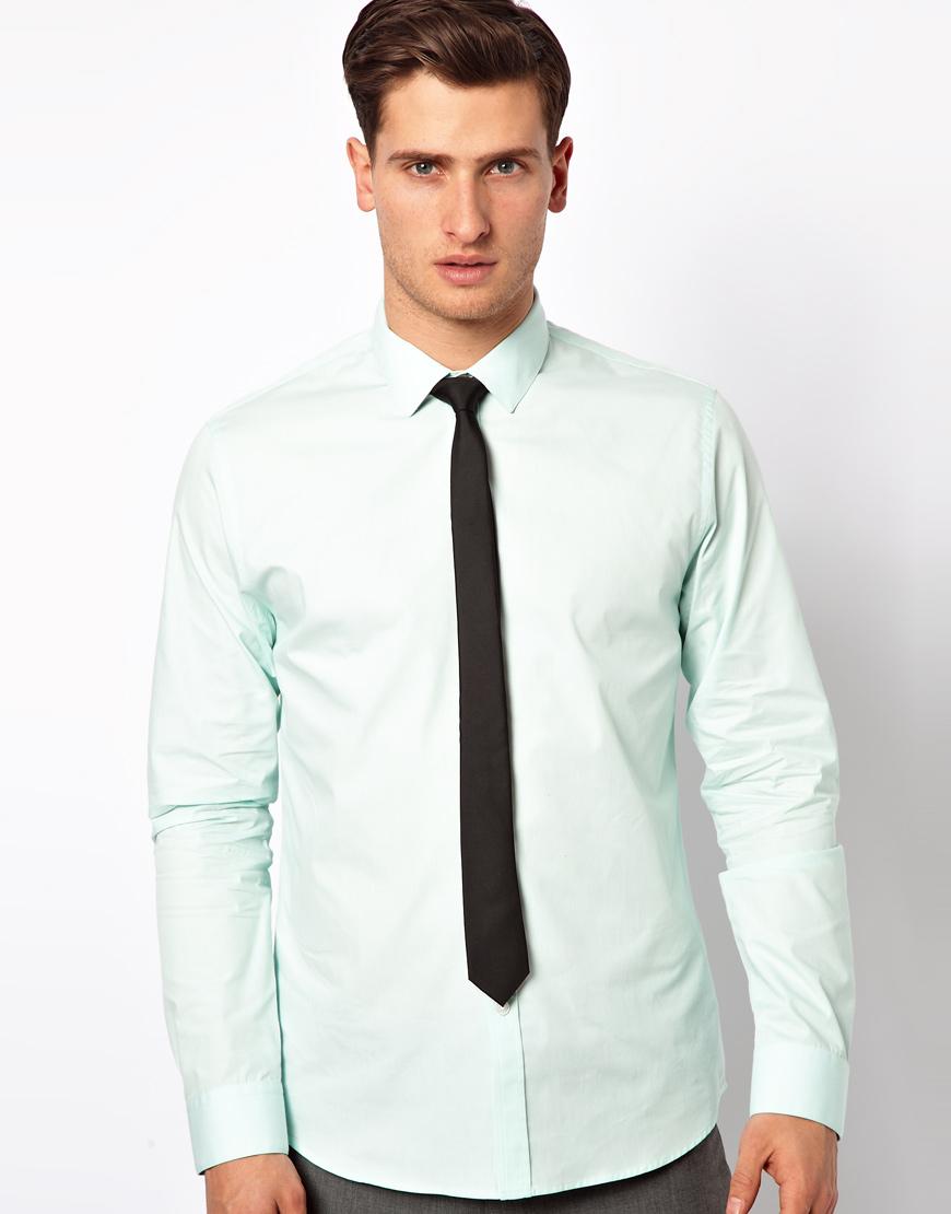 Asos Smart Shirt in Long Sleeve in Green for Men | Lyst