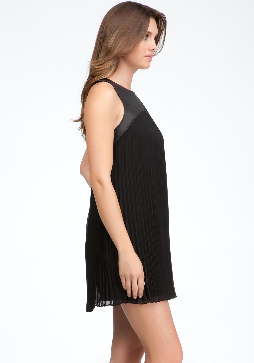Lyst Bebe Pleated Leather Yoke Dress In Black