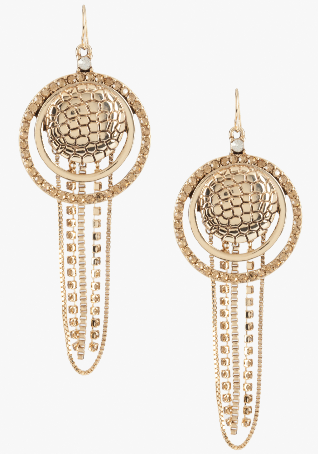 Bebe Snake Print Disc Chain Earrings In Gold Lyst