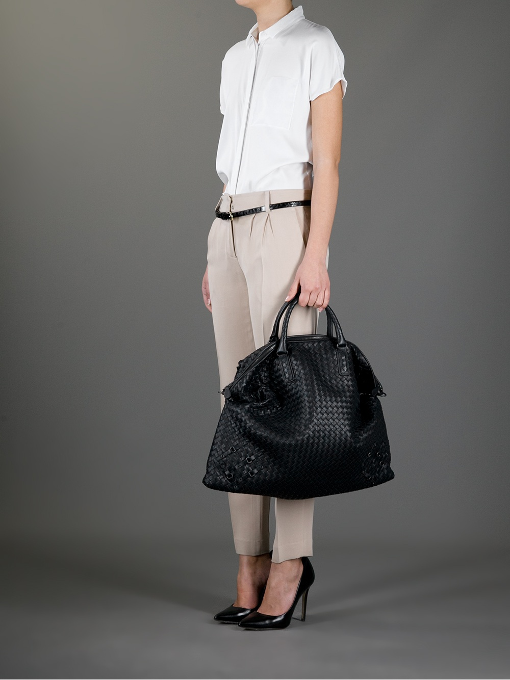 eb55f449fd replica bottega venetta - Bottega veneta Intrecciato Nappa Convertible Bag  in Black