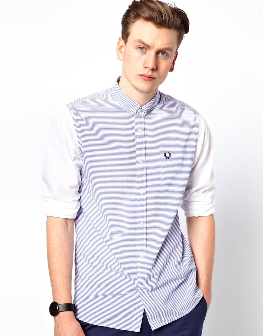 Fred Perry Shirt With Stripe Body And Plain Sleeves In