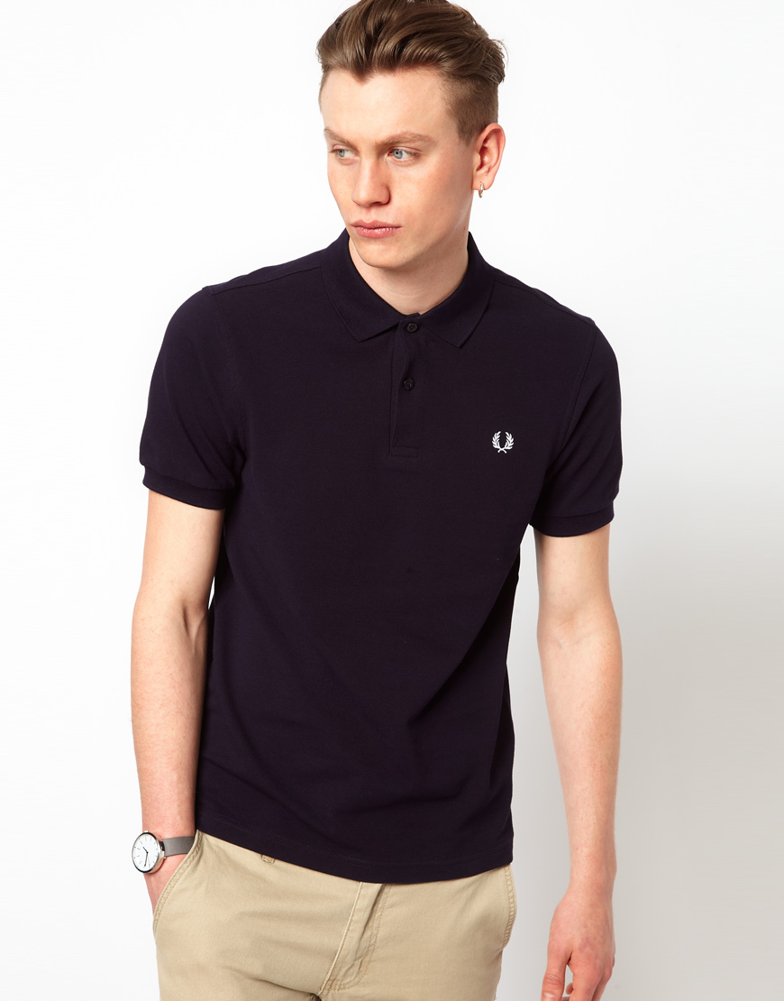 lyst cheap monday fred perry slim fit plain polo in blue for men. Black Bedroom Furniture Sets. Home Design Ideas
