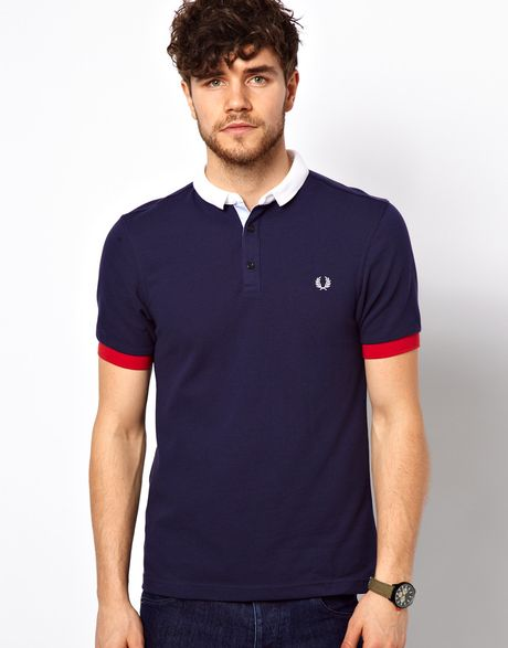 fred perry polo with small contrast collar in blue for men. Black Bedroom Furniture Sets. Home Design Ideas