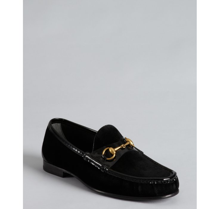 2cc3941924f Gucci Black Velour and Patent Leather Horsebit Loafers in Black for Men
