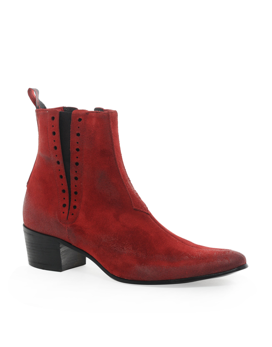 Lyst Jeffery West Chelsea Boots In Red For Men