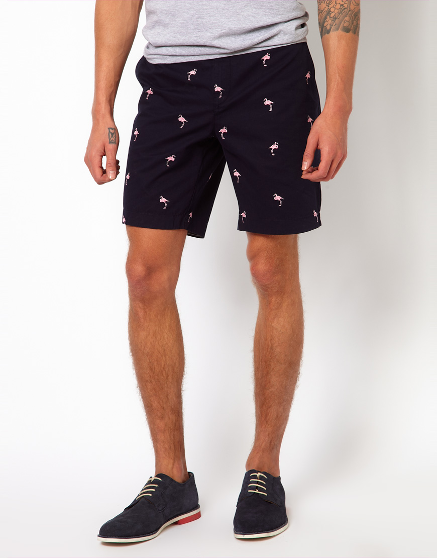 Lyst Ted Baker Embroidered Flamingo Shorts In Blue For Men