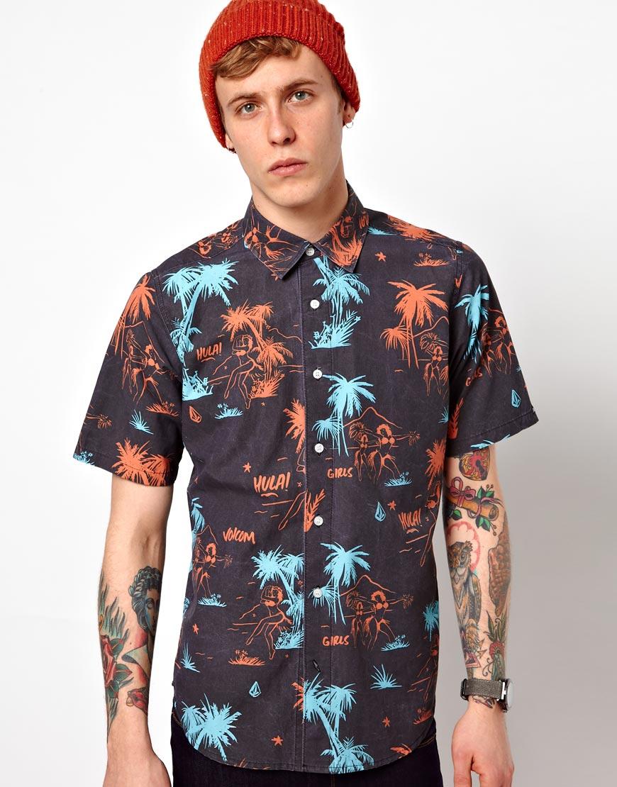 Volcom Shirt Short Sleeve Hawaiian Mental Fun Print in ...