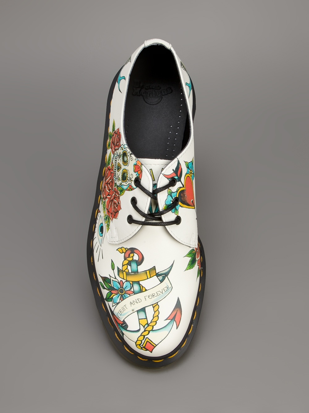 Lyst Dr Martens Tattoo Print Lace Up Shoe In White