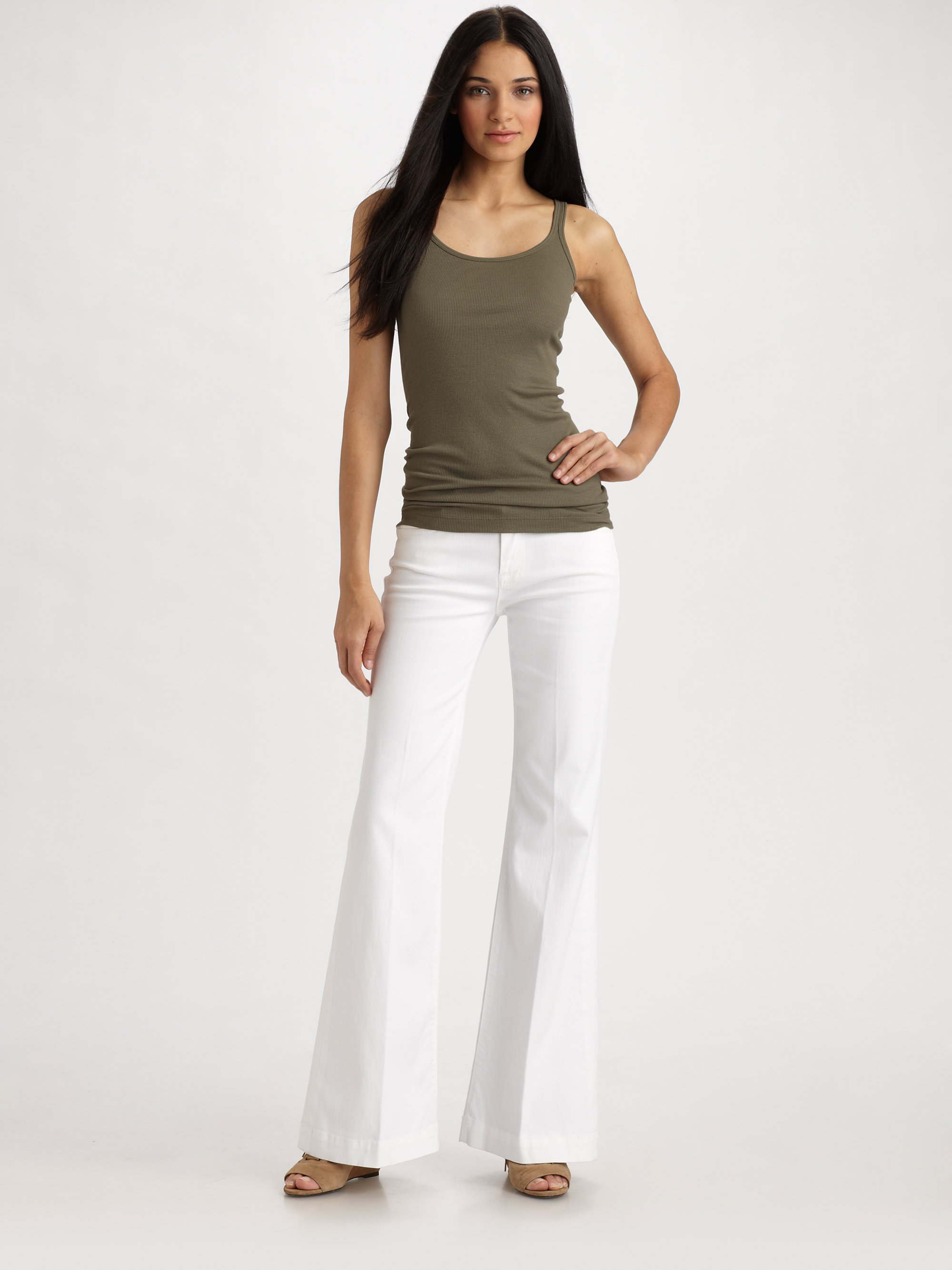 7 for all mankind Ginger Wide Leg Jeans in White | Lyst