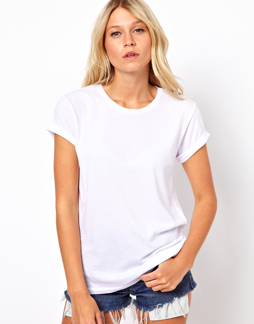 Lyst asos collection t shirt with lazer cut wings in white for Asos design free t shirt