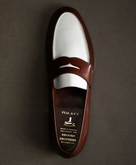 brothers white and brown spectator loafer in white