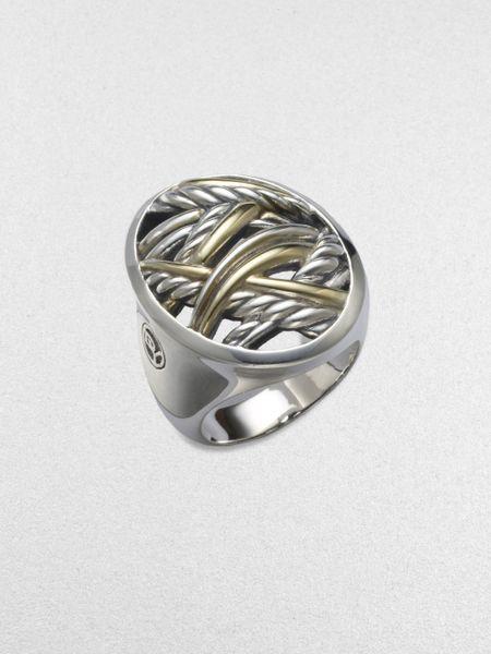david yurman sterling silver 18k yellow gold ring in