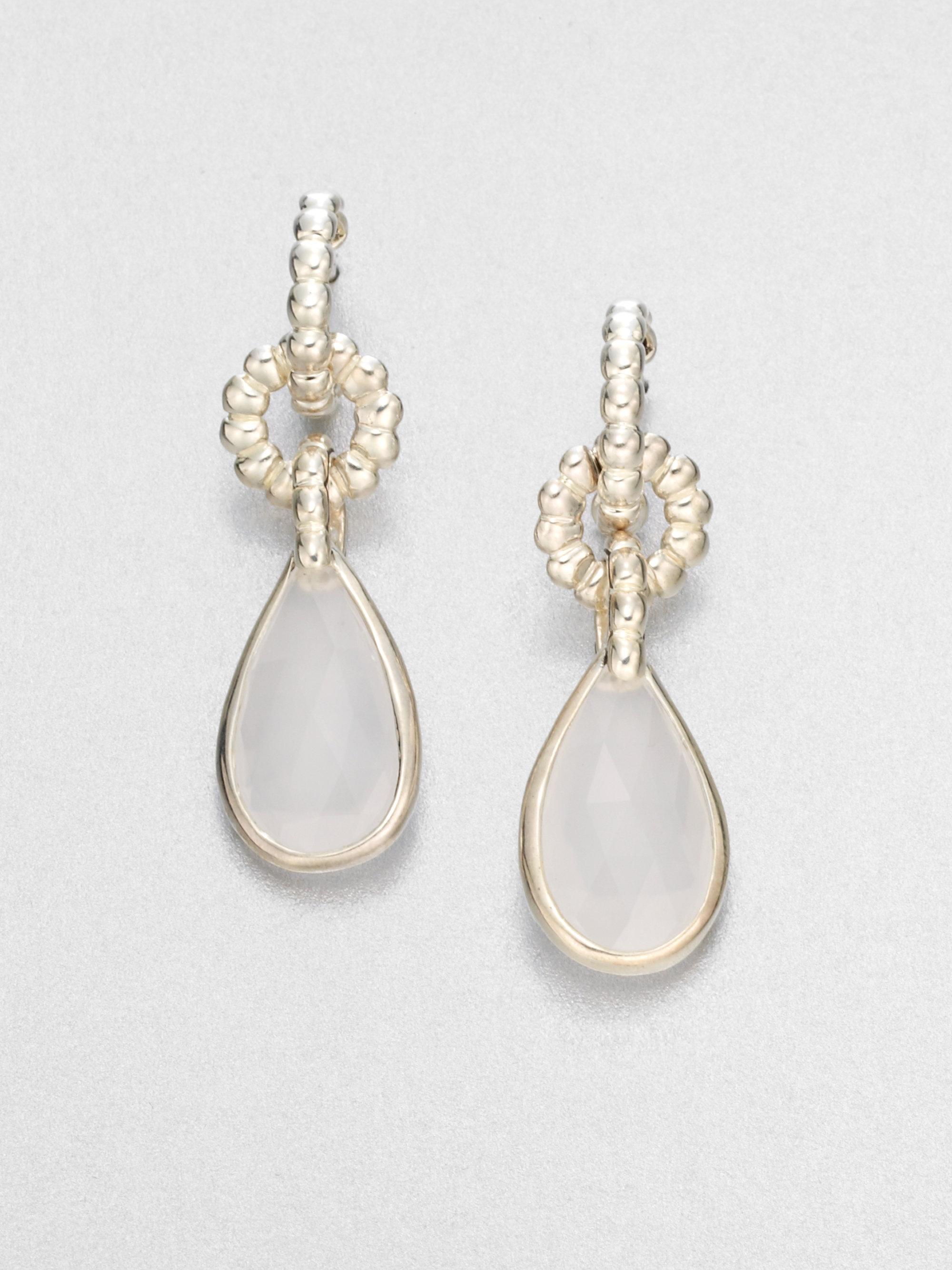 John Hardy Milky Quartz And Sterling Silver Drop Earrings
