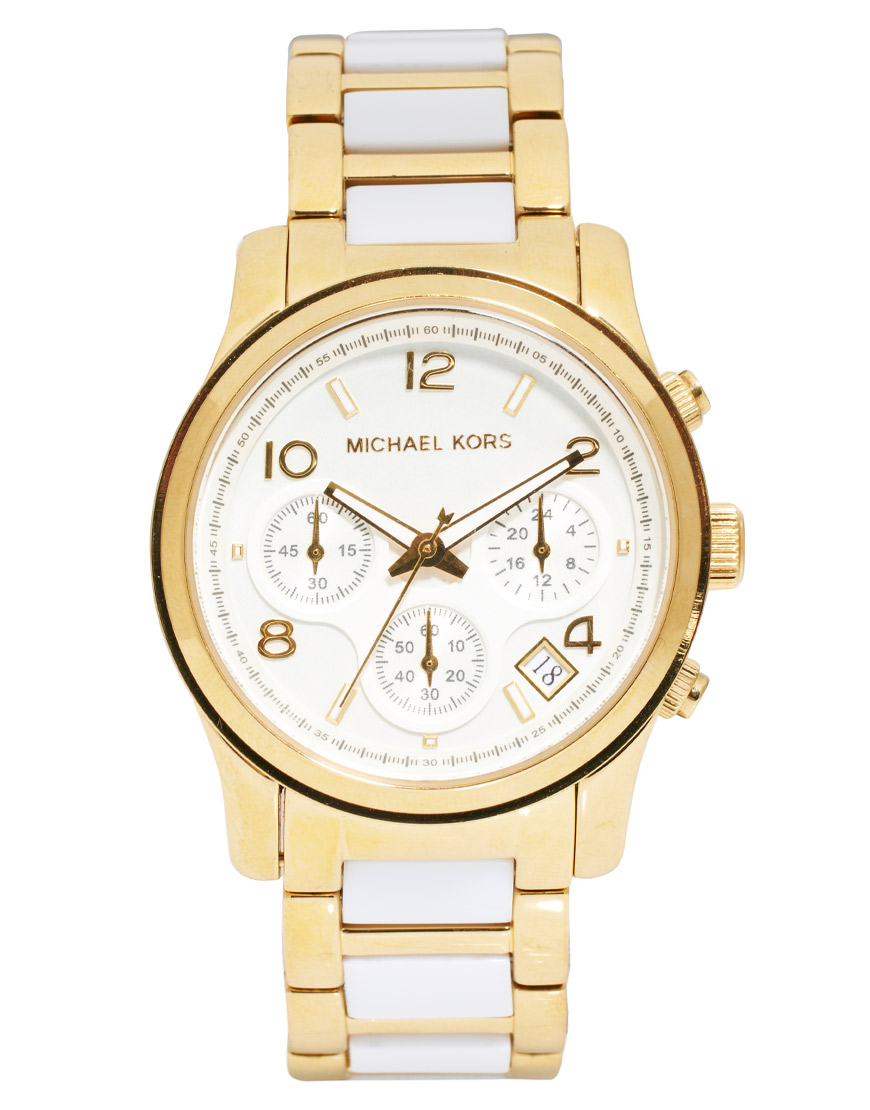 311302e9c159 Lyst - Michael Kors Runway White and Gold Strap Chronograph Watch in ...