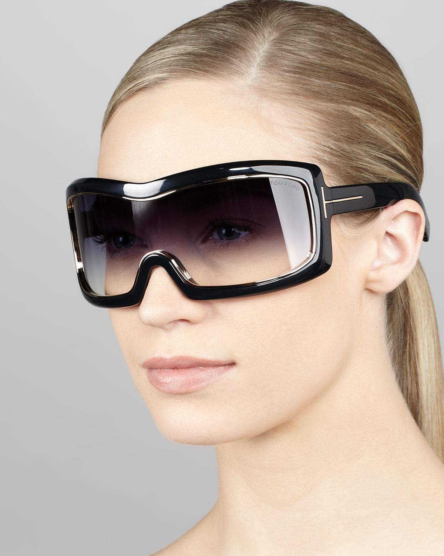 Tom Ford Olga Shield Sunglasses In Black Lyst