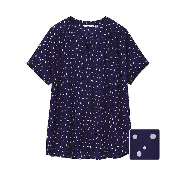 Stand Collar Blouse Designs : Uniqlo stand collar print short sleeve blouse in blue
