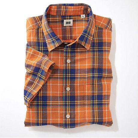 uniqlo linen cotton madras check short sleeve shirt f in