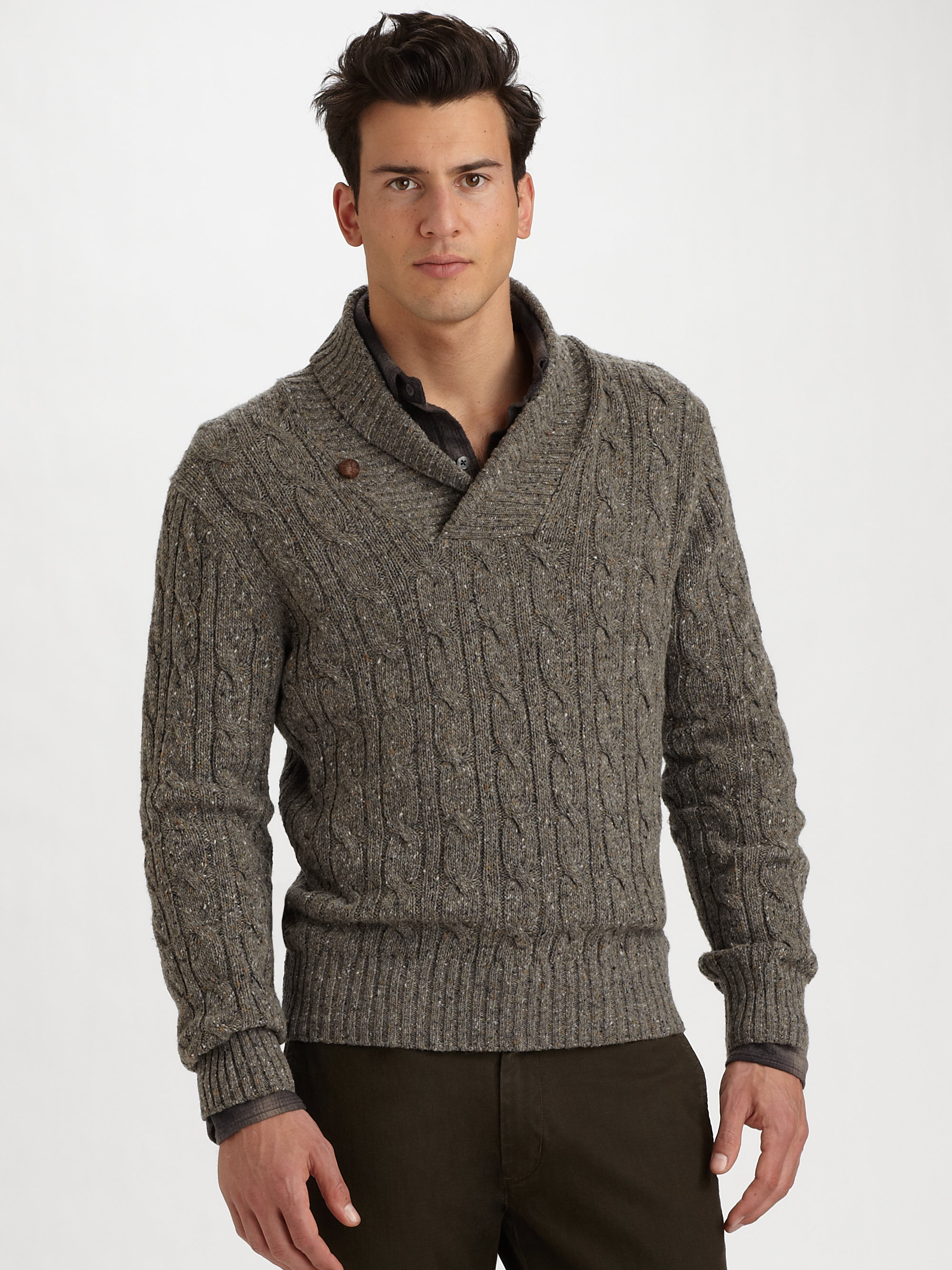 4a4119317b0c Lyst - Vince Tweeded Shawl-Collar Sweater in Brown for Men
