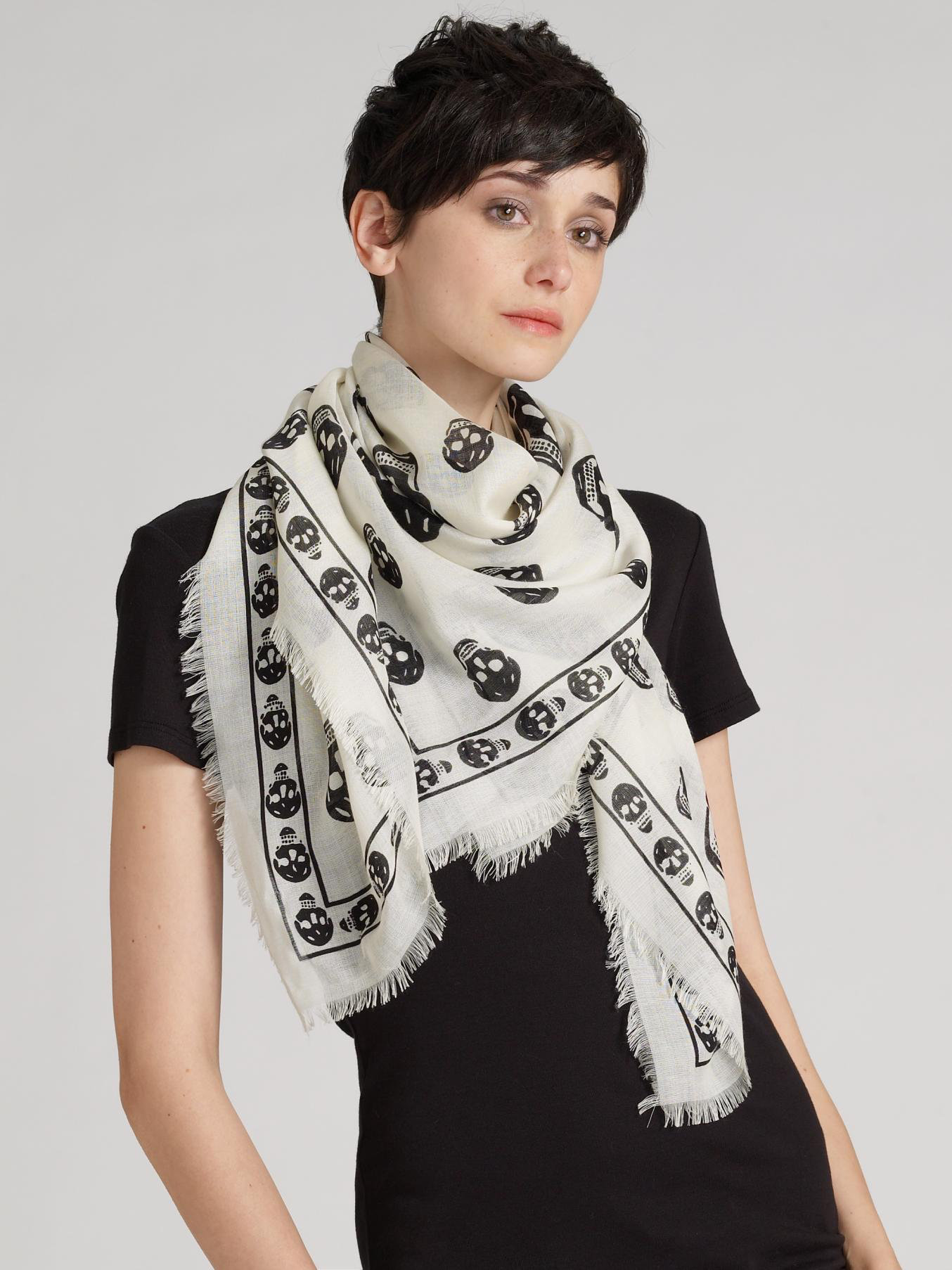 Ivory and Black Silk Skull Scarf Alexander McQueen mPRjSwmrk
