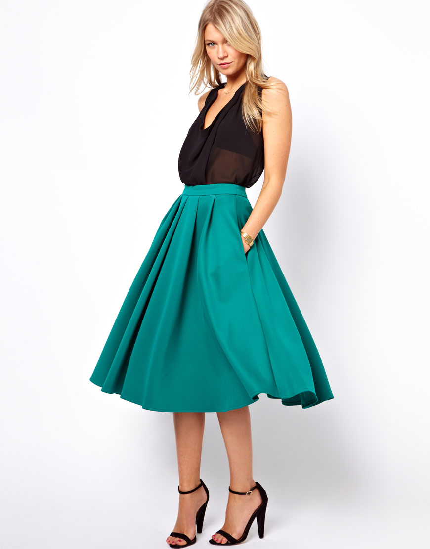 Asos collection Full Midi Skirt with Box Pleats in Green | Lyst