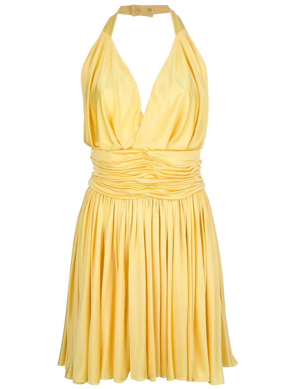 Balmain Halter Neck Dress In Yellow Lyst