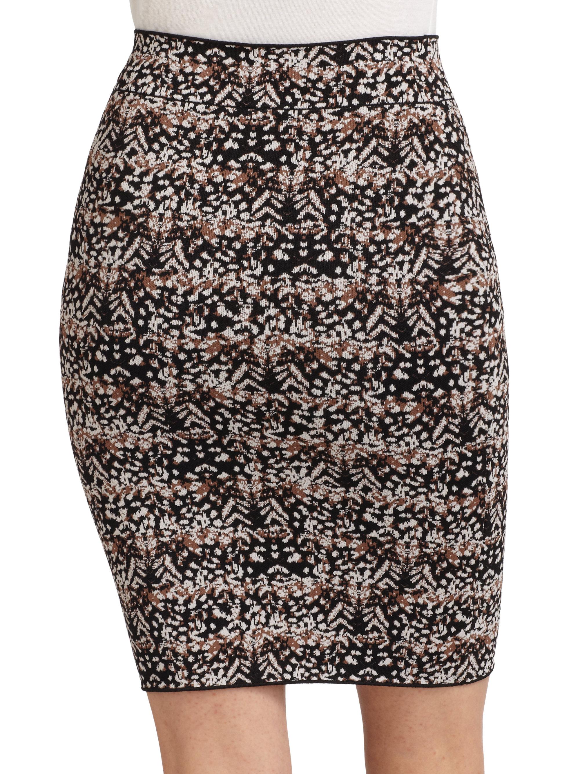 bcbgmaxazria pheasant feather pencil skirt in black
