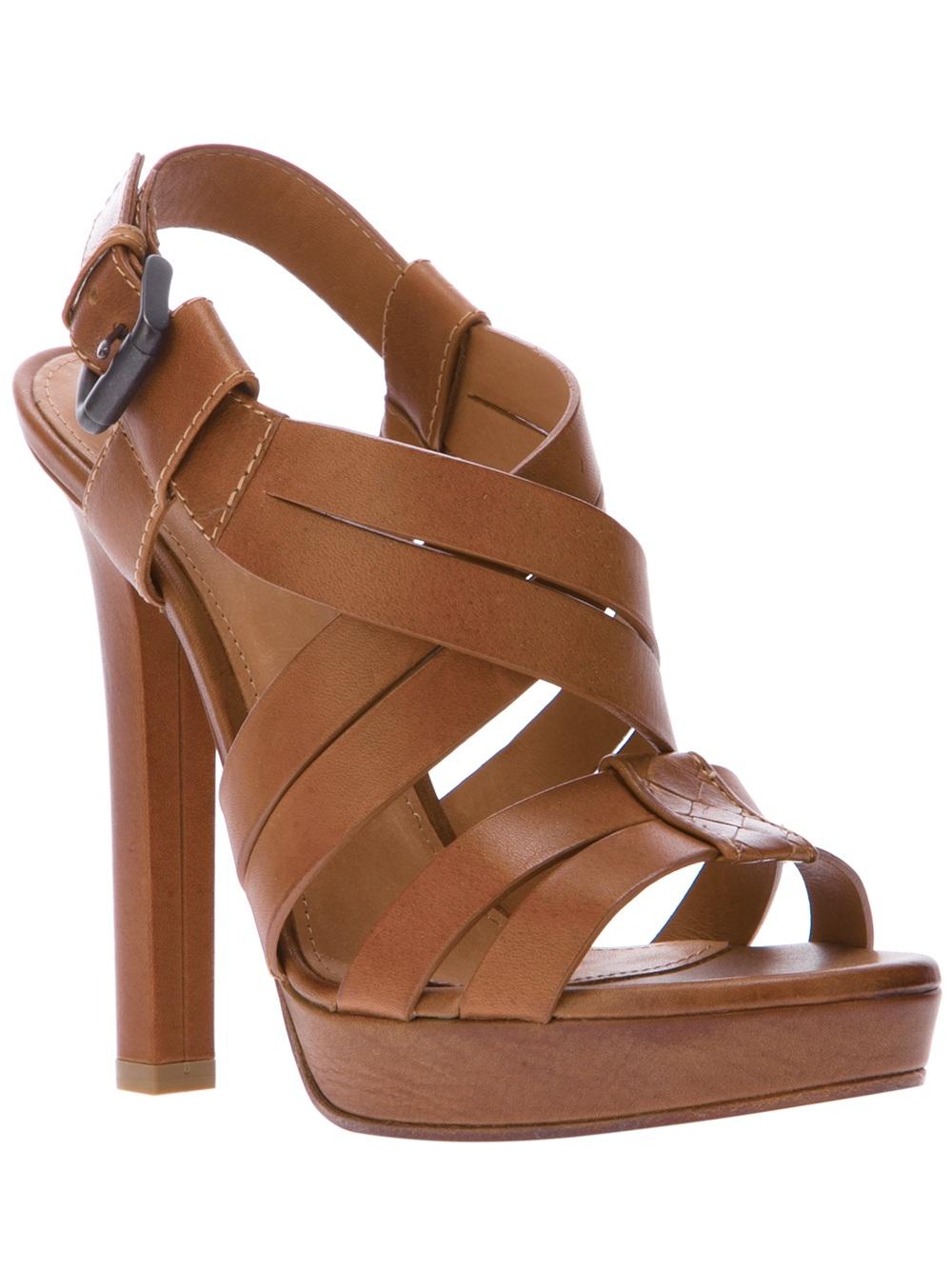 Bottega Veneta Strappy Sandals In Brown Tan Lyst
