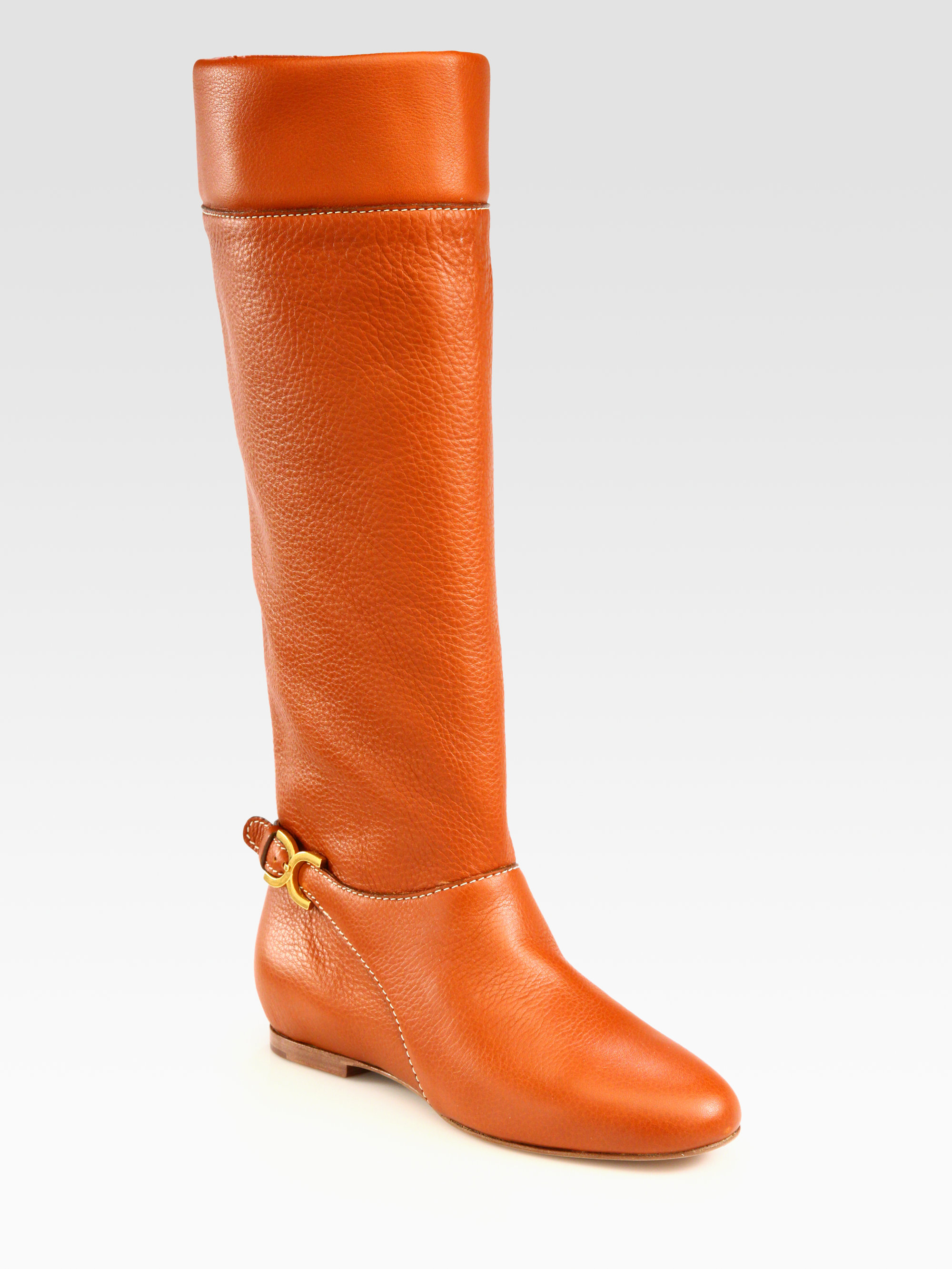 Chloé Flat Knee High Leather Boots in Brown | Lyst