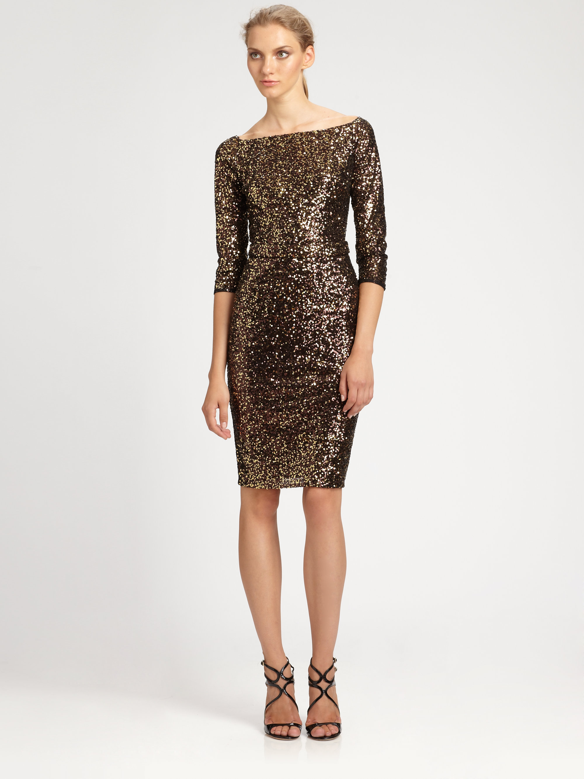 David meister Sequined Dress in Black | Lyst
