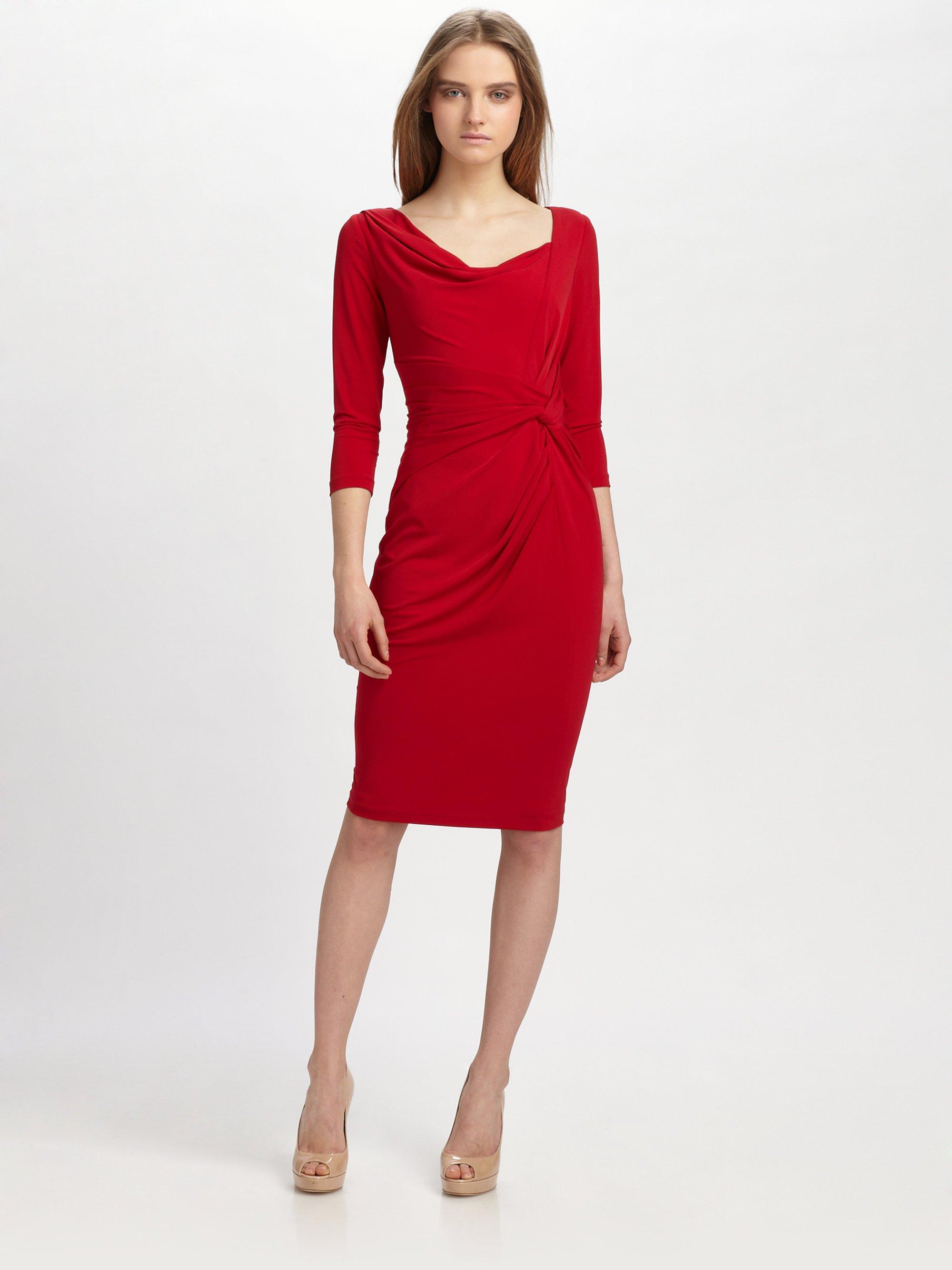 David meister Matte Jersey Dress in Red | Lyst
