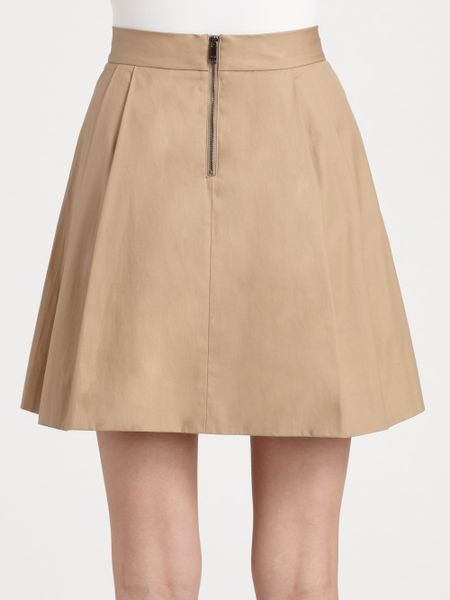 dkny pleated skirt in khaki lyst