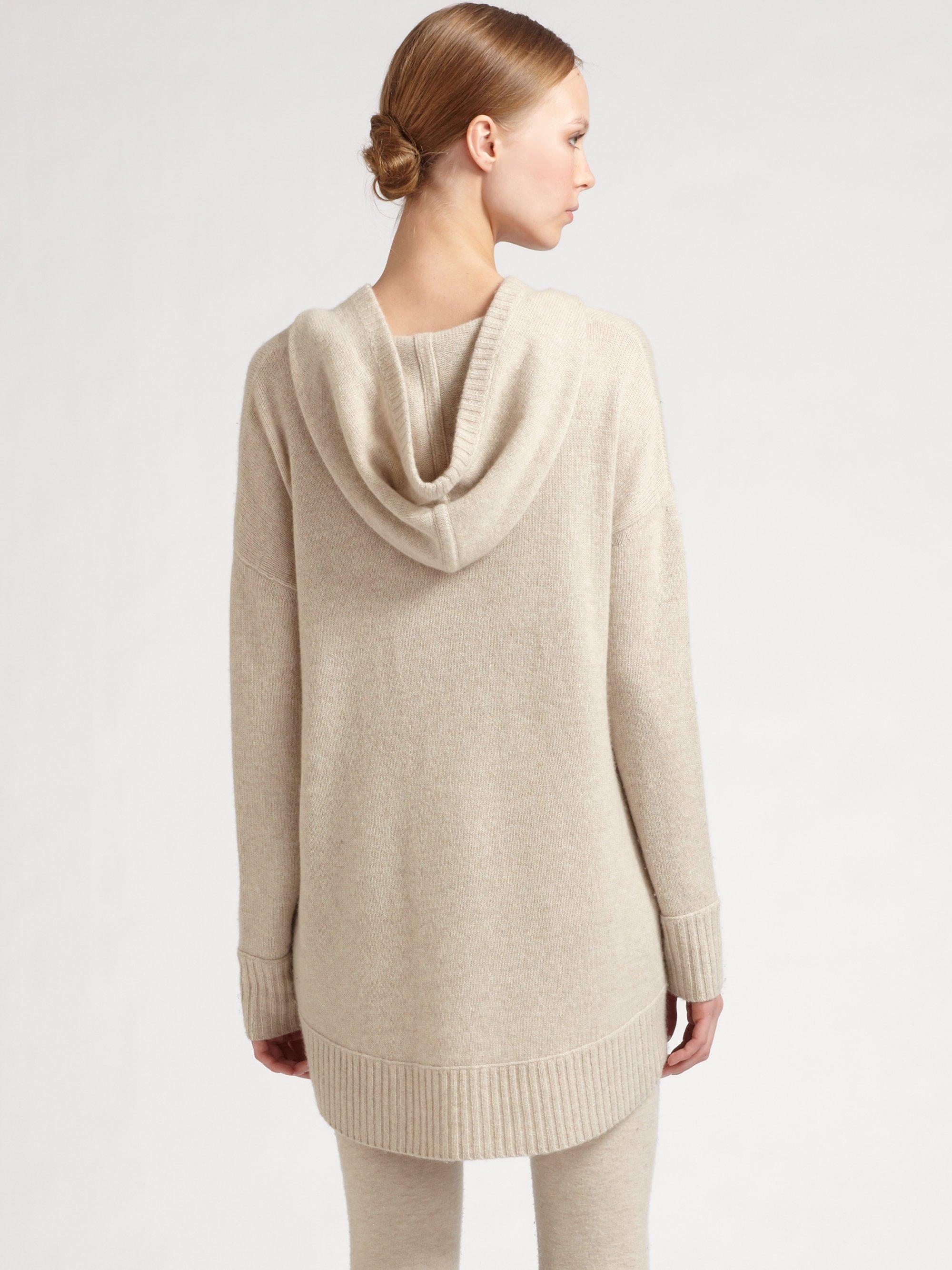 donna karan cashmere hooded sweater in natural lyst. Black Bedroom Furniture Sets. Home Design Ideas