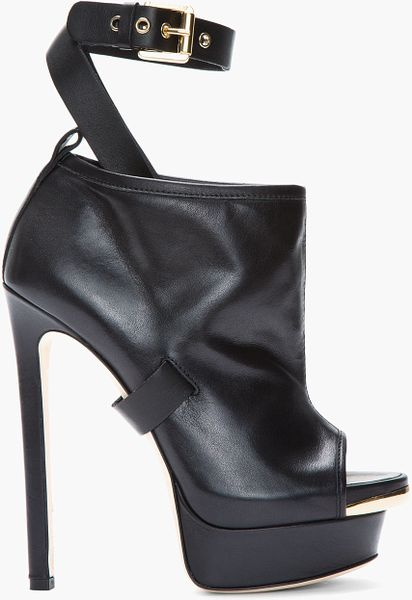 dsquared 178 black leather buckled peep toe biker boots in