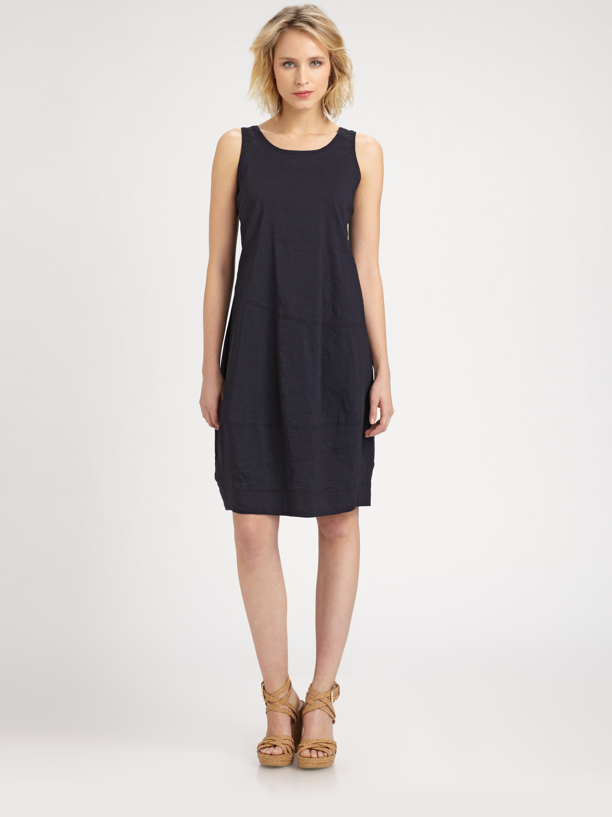 Lyst Eileen Fisher Sleeveless Lantern Dress In Blue