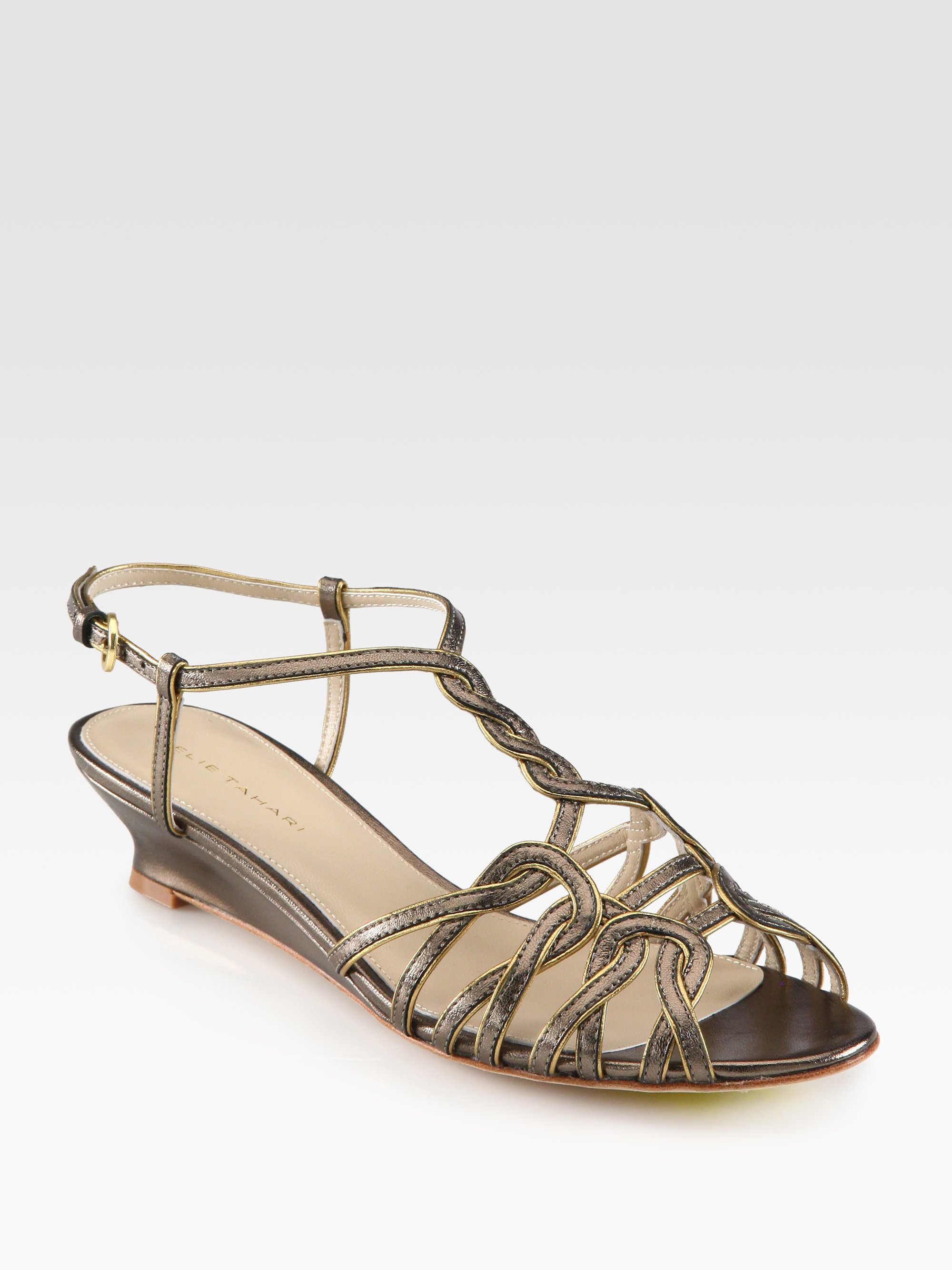 elie tahari india metallic leather demiwedge sandals in