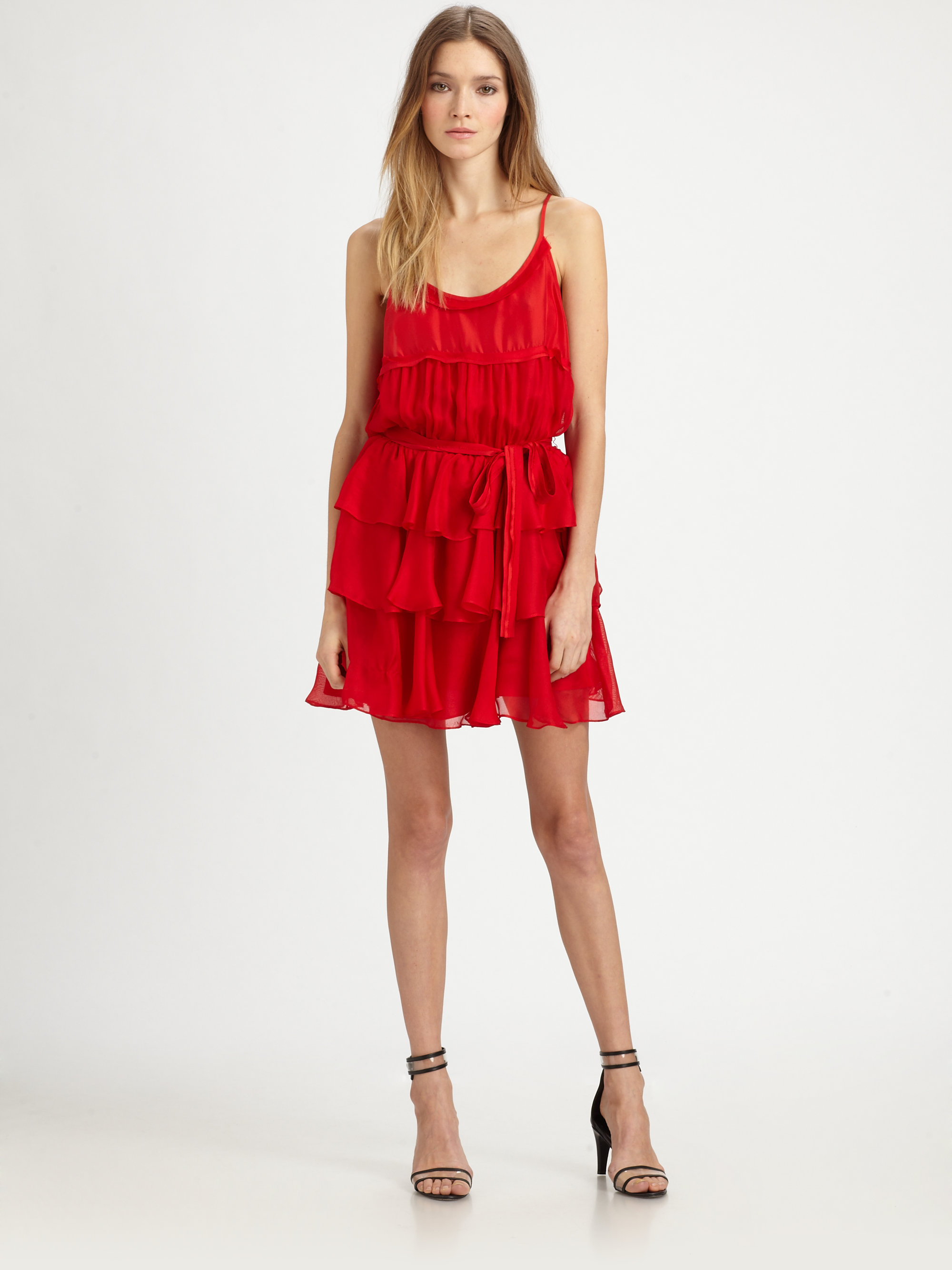 Elizabeth and james Tricia Silk Ruffle Dress in Red | Lyst