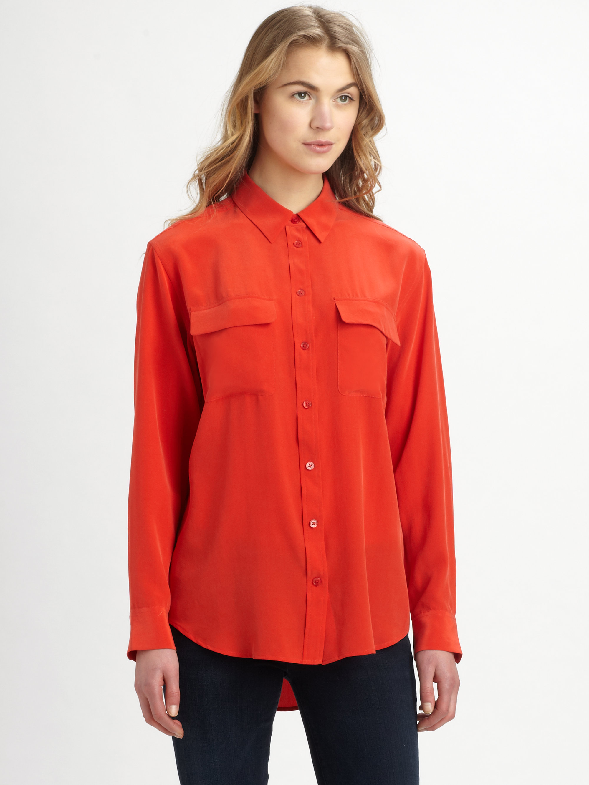 Equipment Signature Silk Shirt In Red Lyst