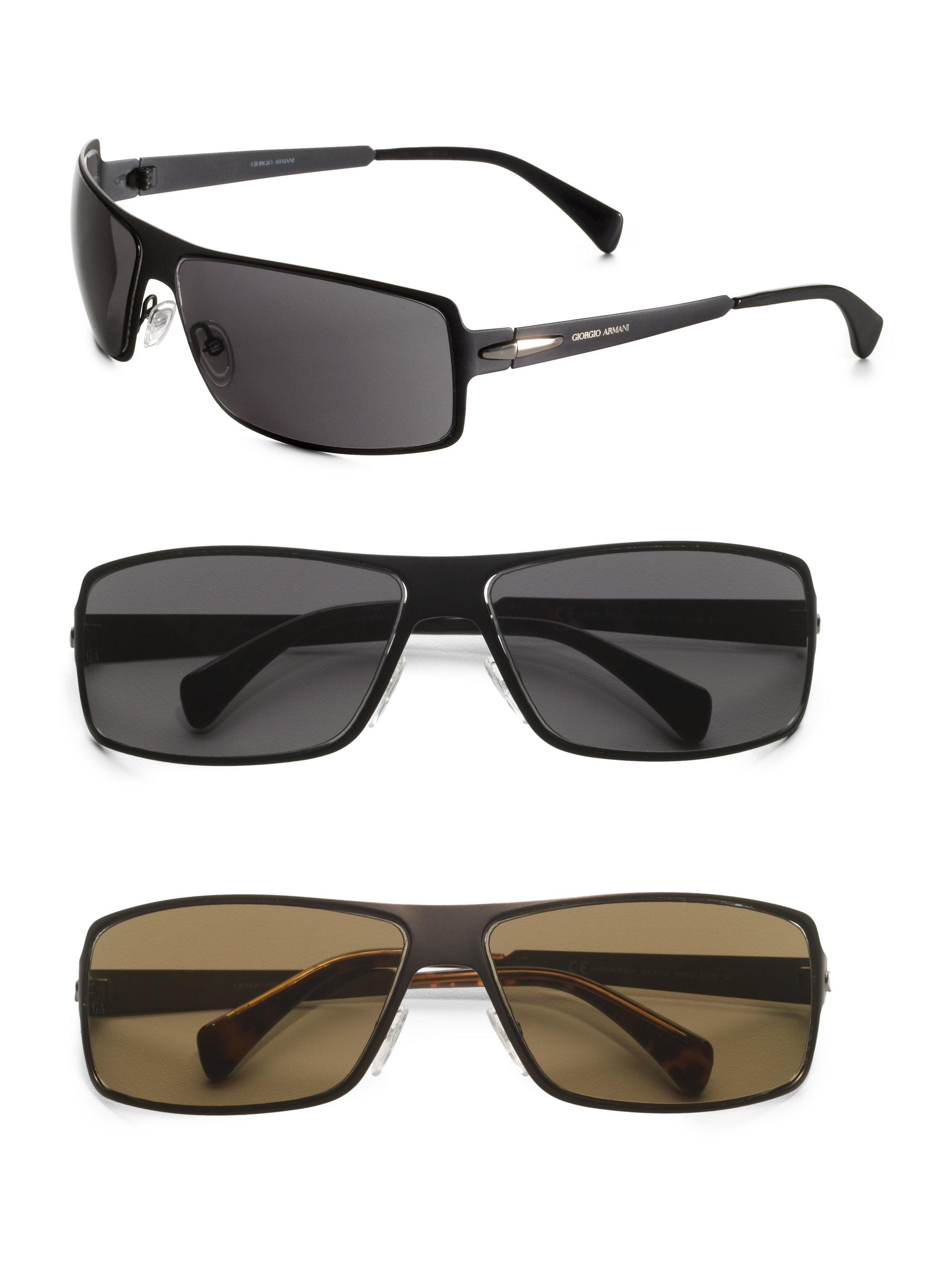 Lyst - Giorgio Armani Metal Shield Sunglasses in Brown for Men