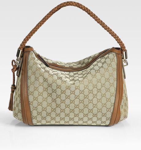 Gucci Bella Medium Hobo in Gray (beige/brown)