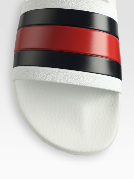 Gucci Pursuit 72 Slide Sandals In White For Men Lyst