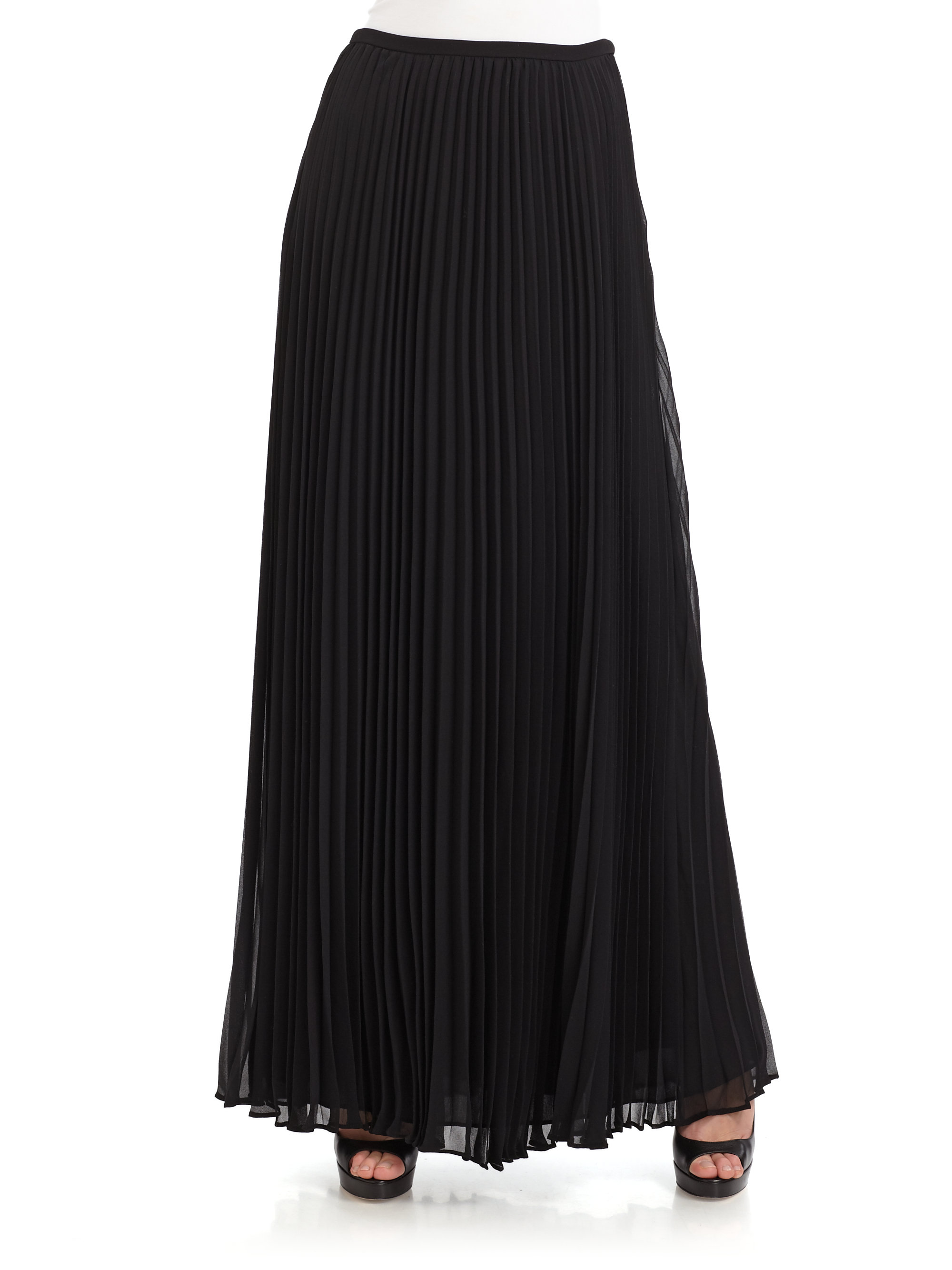 50af766ee4 Halston Accordion-pleated Chiffon Maxi Skirt in Black - Lyst