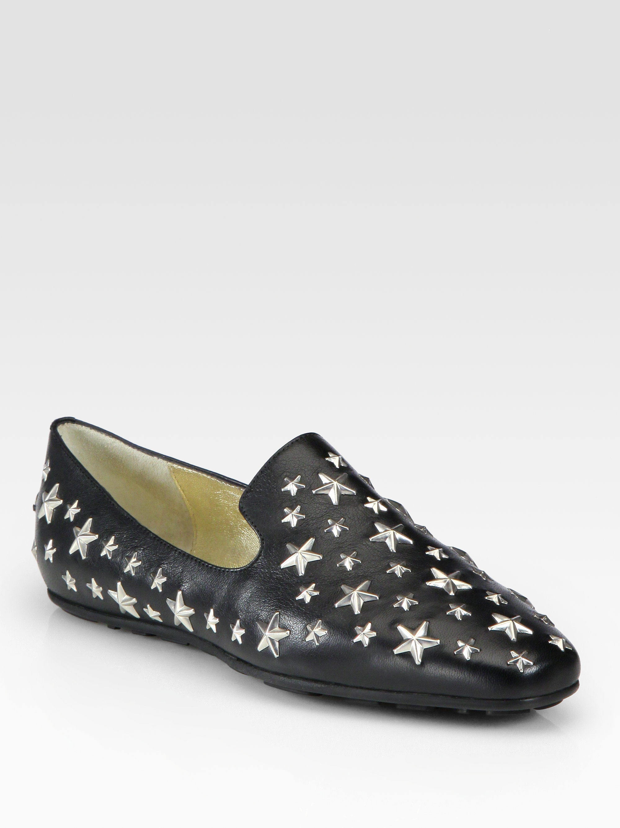 07a27d079362 Lyst - Jimmy Choo Wheel Star Studded Leather Loafers in Black