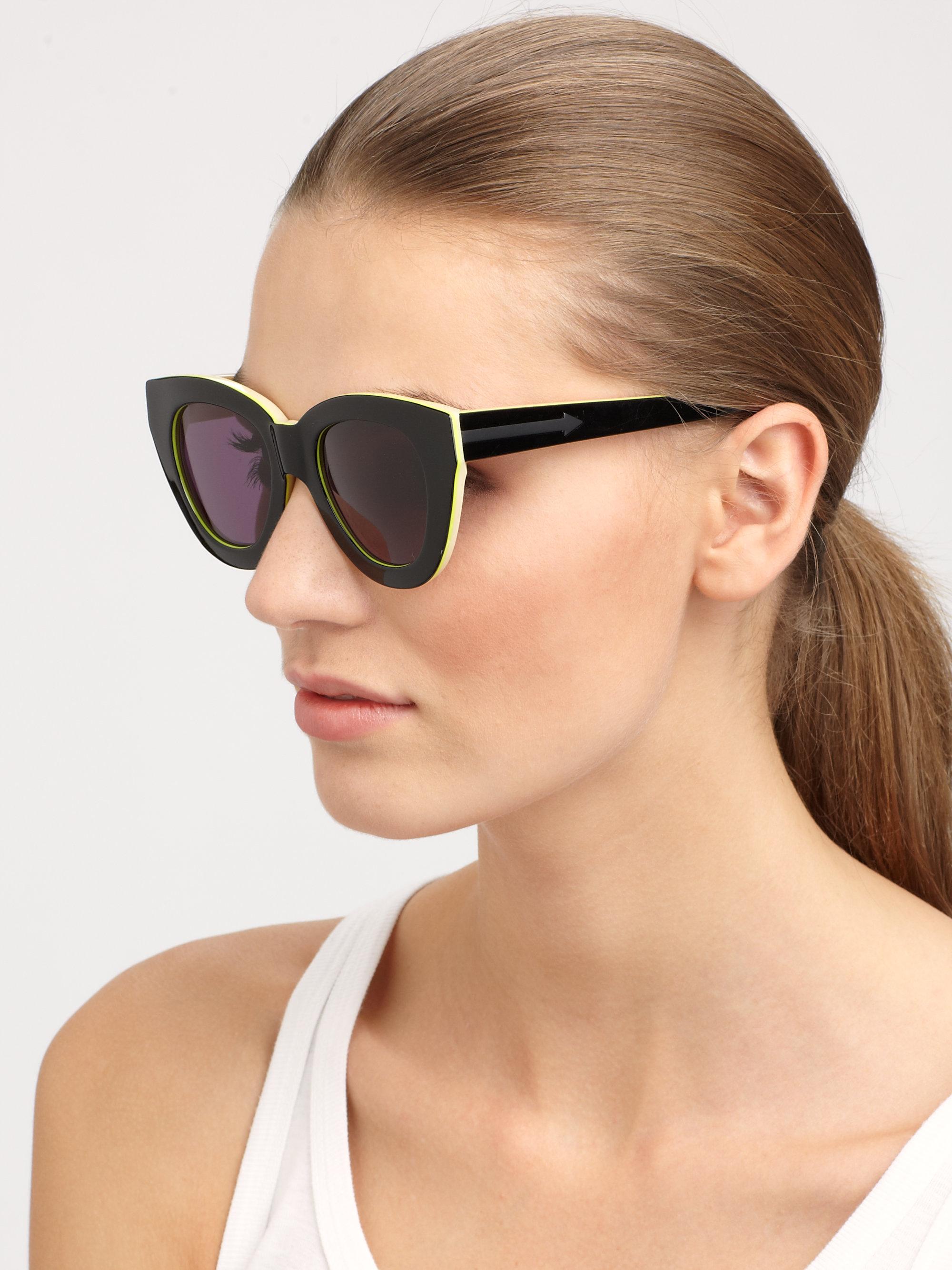 09e60918e37d Lyst - Karen Walker Anytime Cateye Acetate Sunglasses in Black